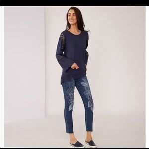 Diane Gilman Embroidered Skinny dark blue jeans